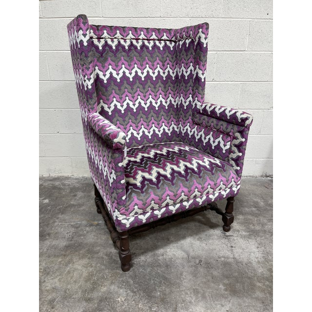 Wood Stylish Newly Reupholsterd Wing Back Chair For Sale - Image 7 of 7