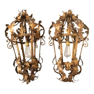 Vintage Italian Gilt Metal Lanterns - A Pair For Sale