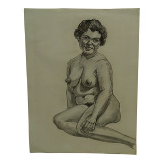 "1959 Mid-Century Modern Original Drawing on Paper, ""Chubby Nude Ii"" by Tom Sturges Jr. For Sale"