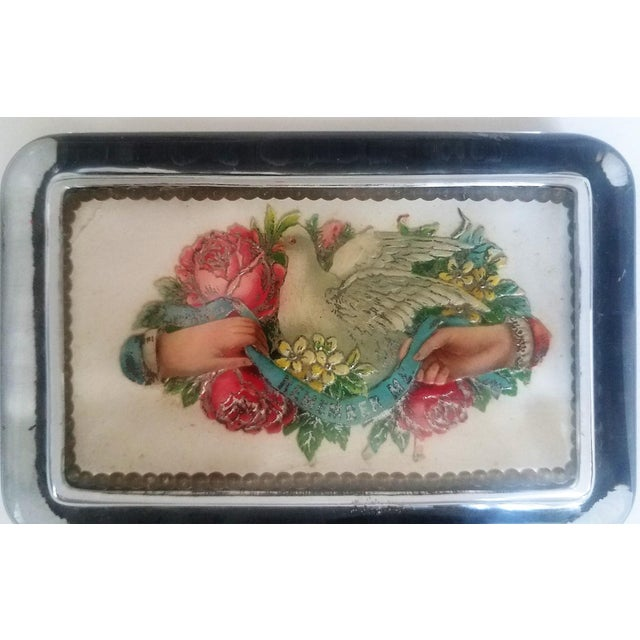 Traditional Antique Victorian Card Decoupaged Paper Weight For Sale - Image 3 of 5