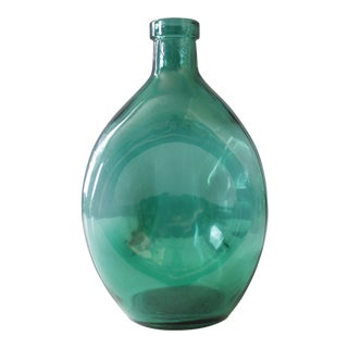 Vintage Swedish Pinched Glass Bottle Green Mid Century