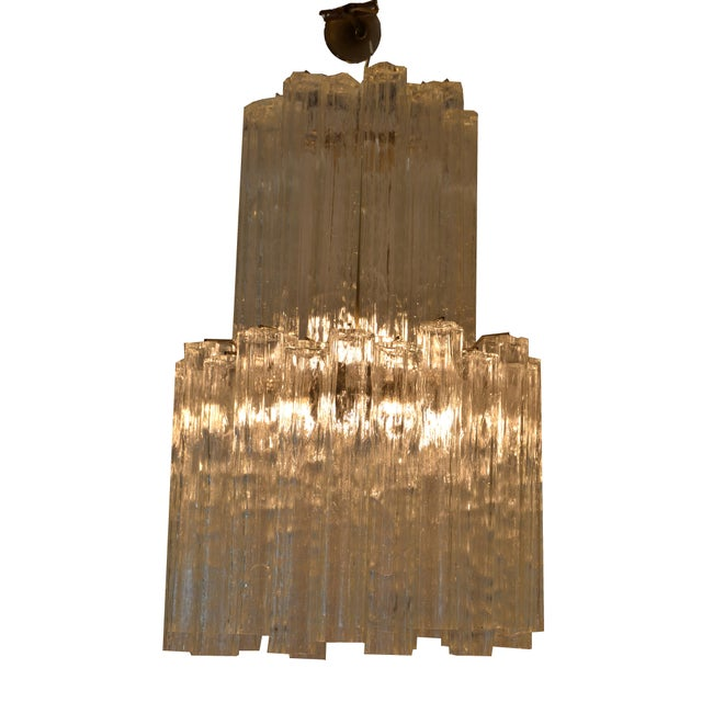 Italian Italian Mid-Century Modern Two Tier Long Crystal Tronchi Shades Chandelier For Sale - Image 3 of 9