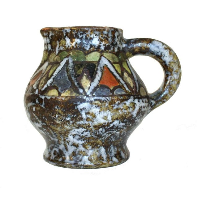 Enamel Glazed Polychrome Stoneware Pitcher For Sale In New York - Image 6 of 6