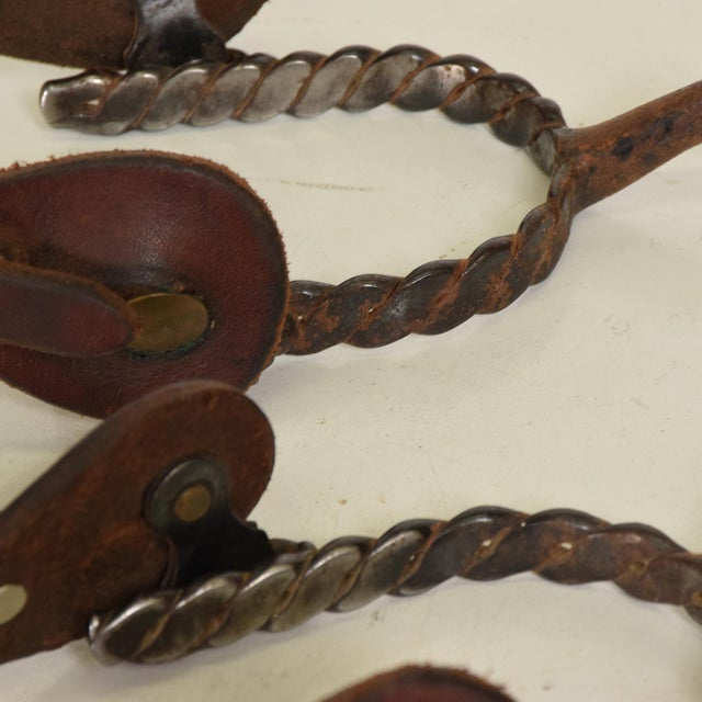 Antique Forged Iron Western Spurs With Leather & Brass Accent - a Pair For Sale In San Diego - Image 6 of 11