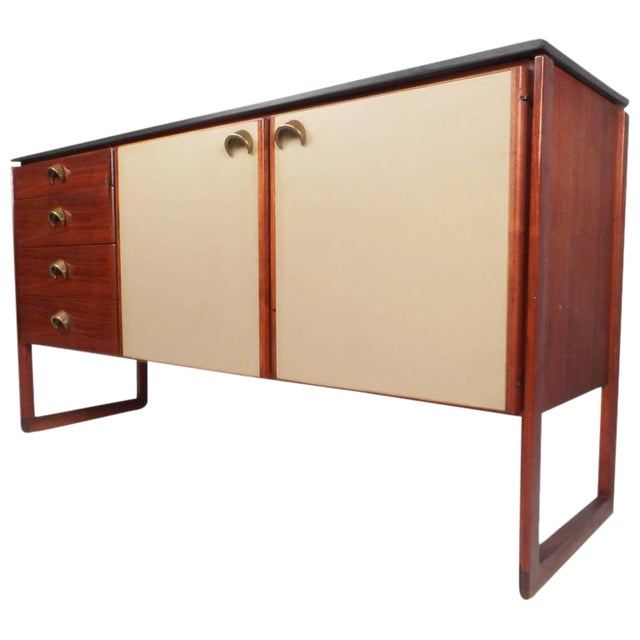 Jens Risom Mid-Century Marble Top Sideboard For Sale
