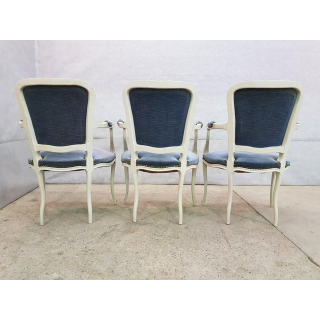 Set of 3 Large French Vintage Whitewashed Velvet Blue Upholstery Louis XV Armchairs For Sale - Image 9 of 13