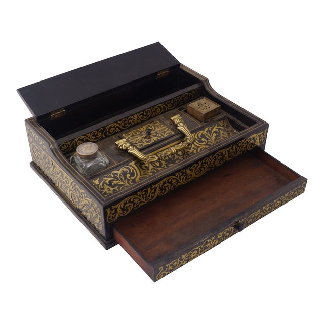 Circa 1880 Italian Napoleon III Inlaid Brass and Lacquered Mahogany Inkwell. A gorgeous Napoleon III black lacquer...