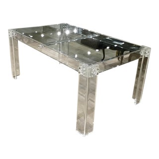 1970s Contemporary Lucite and Glass Dining Table For Sale