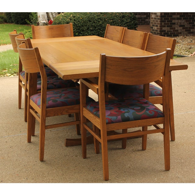 Conant Ball Oak Dining Table and 8 Chairs For Sale - Image 11 of 11