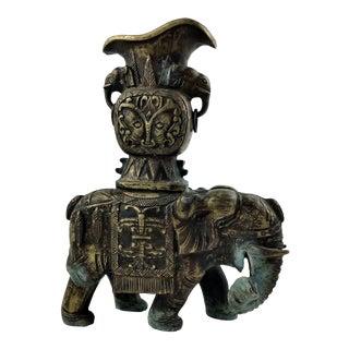 1920's Vintage Solid Brass Carved Elephant Vase For Sale