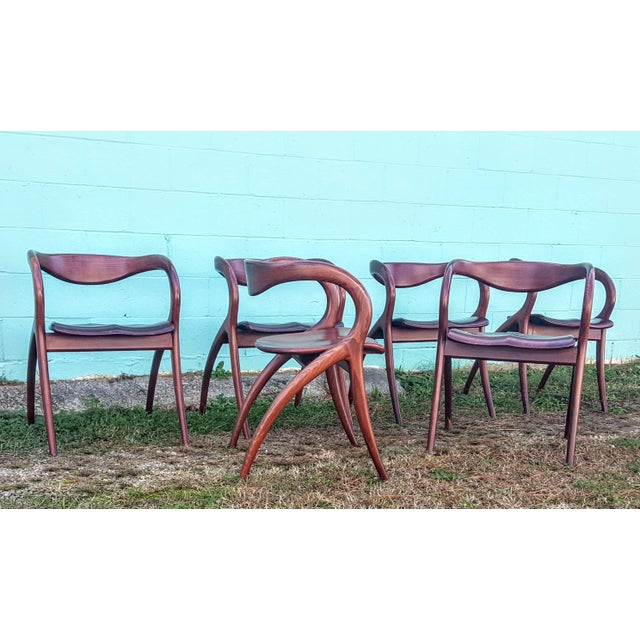 Really beautiful & comfortable solid cherry. Construction of these chairs is amazing. They are in great condition just...