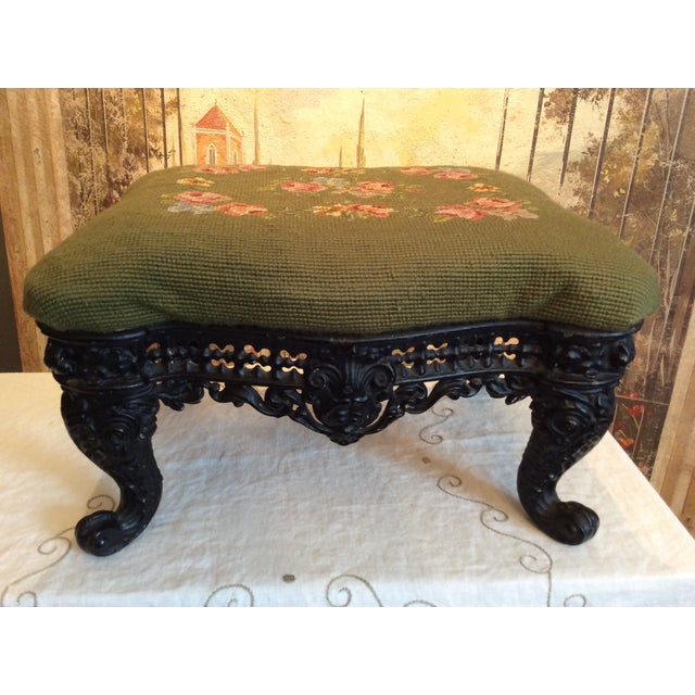 Traditional 1930s Vintage Victorian Cast Iron Needlepoint Footstool For Sale - Image 3 of 12