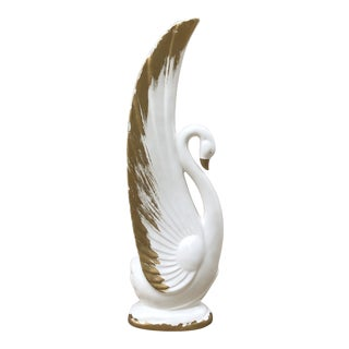 Japanese Ceramic White and Gold Swan Figurine For Sale