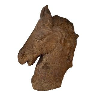 Medium Cast Iron Horse Head Sculpture For Sale