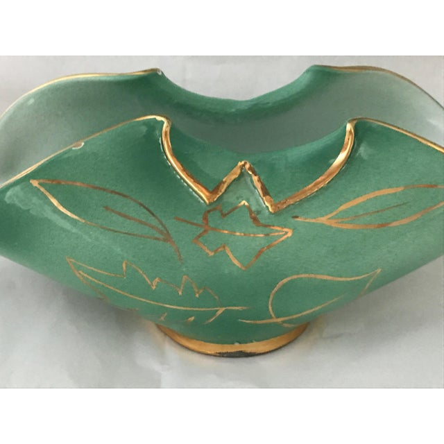 Hollywood Regency Mid-Century Art Pottery Porcelain Turquoise & Gold Bowl For Sale - Image 3 of 6