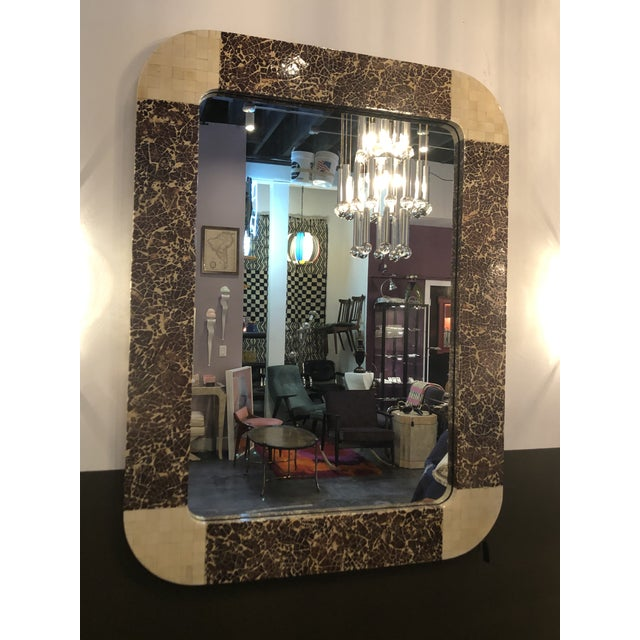 Hollywood Regency Enrique Garcel Tessellated Bone and Coconut Shell Oversized Wall Mirror For Sale - Image 3 of 9