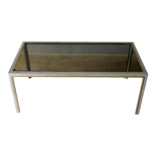 Chrome, Brass and Smoked Glass Coffee Table by Romeo Rega, Circa 1970 For Sale