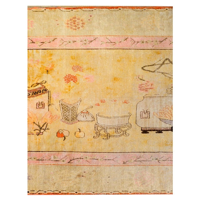 Traditional Early 20th Century Pictorial Khotan Rug For Sale - Image 3 of 11