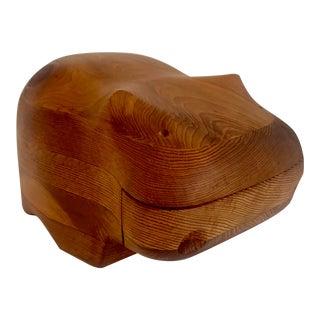 Circa 1970s Wooden Hippopotamus Trinket Box by Deborah D Bump For Sale