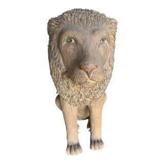 1970s Vintage Lloyd Bryan Chalkware Life Size Lion For Sale