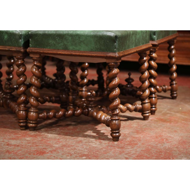 Set of Four 19th Century French Louis XIII Carved Barley Twist Leather Stools For Sale In Dallas - Image 6 of 8