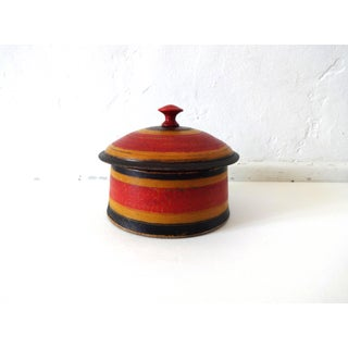 19th-Century Antique Afghanistan Round Painted Wood Spice Box Preview