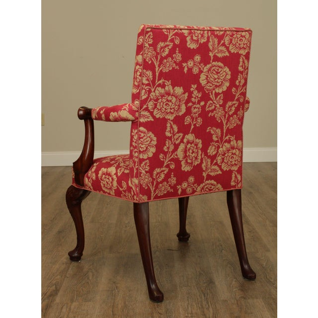 Wood Georgian Style Custom Quality Carved Mahogany & Upholstered Set 10 Dining Chairs For Sale - Image 7 of 13