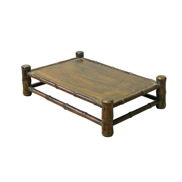 Chinese Brown Wood Carved Rectangular Table Top Stand Display Easel For Sale - Image 4 of 8