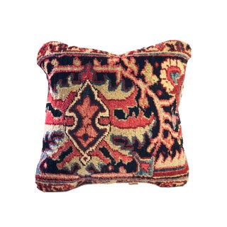 Circa 1900 Antique Heriz Fragment Pillow For Sale
