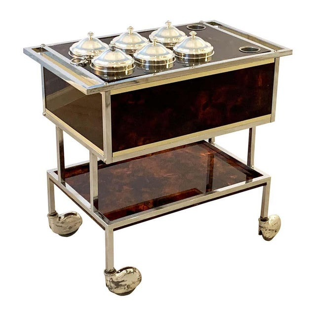 Italian Chrome and Faux Tortoise Ice Cream Cart For Sale - Image 13 of 13