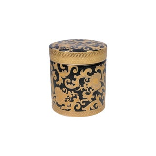 Black and Gold Tapestry Porcelain Round Box For Sale