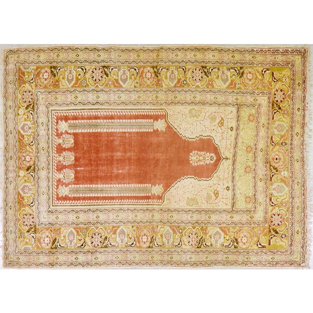 """Shabby Chic Vintage Turkish Anatolian Prayer Design Hand Knotted Organic Wool Fine Weave Rug,4'5""""x5'9"""" For Sale - Image 3 of 3"""