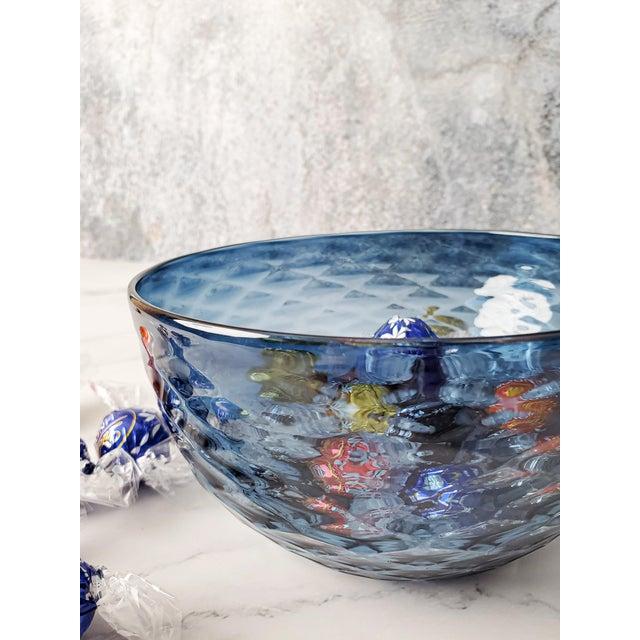 Slate Blue Diamond Cut Bowl For Sale - Image 4 of 6