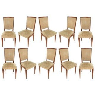 1940s French Velvet Upholstered Dining Chairs - Set of 10 For Sale