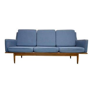 Mid Century Modern Russell Wright for Conant Ball Sofa With Walnut Lower Platform For Sale