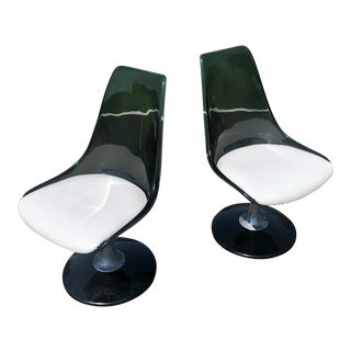 1970s Vintage Chromcraft Tulip Swivel Dining Chairs - a Pair For Sale