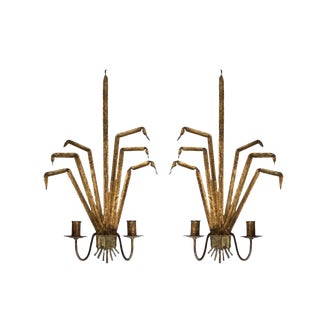Vintage Gold Leaf Wall Sconces - a Pair For Sale