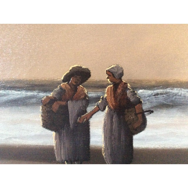 "Mid-Century Marteen ""Breton Fisher Folk"" French Oil Painting - Image 7 of 11"
