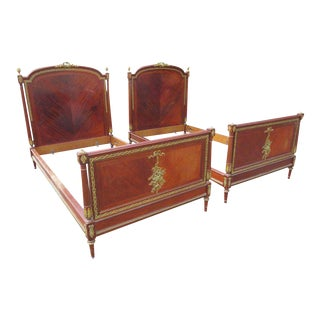 Linke Parquetry Inlaid Bronze Mounted Twin Beds - A Pair For Sale