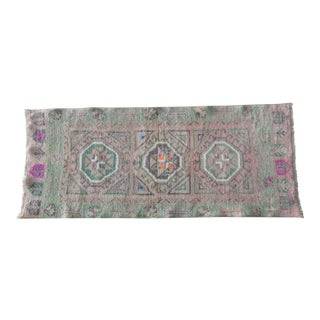 Vintage Turkish Oushak Miniature Rug - Small Kitchen and Bath Mat 1′10″ × 3′8″ For Sale