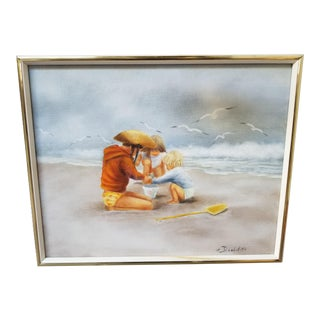Early 20th Century Antique Sheila Dowdell Kids on a Beach Oil on Canvas Painting For Sale