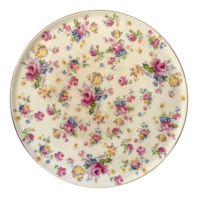 Vintage English Chintz Creamware Serving Plate For Sale