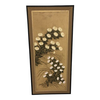 19th Century Antique Japanese Chrysanthemums Panel Screen For Sale
