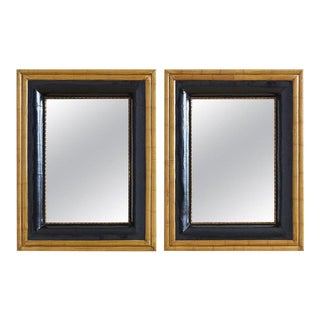 Pair of Portuguese Mirrors With Faux Bamboo Trim For Sale