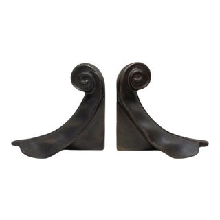Vintage Curled Feather Bookends - a Pair For Sale