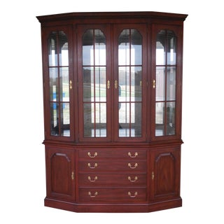 HENKEL HARRIS Lighted Cherry China Cabinet For Sale