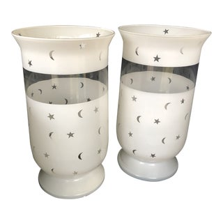 Moon & Stars Decorated Large Scale Frosted Glass Hurricane Shades - A Pair For Sale