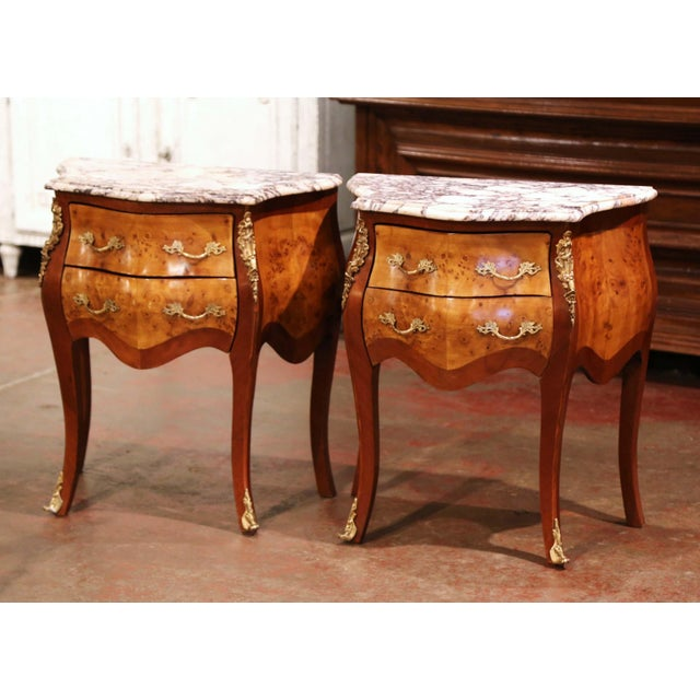 Vintage Louis XV Burl Walnut Bombe Nightstands Chests With Marble Top - a Pair For Sale - Image 11 of 11