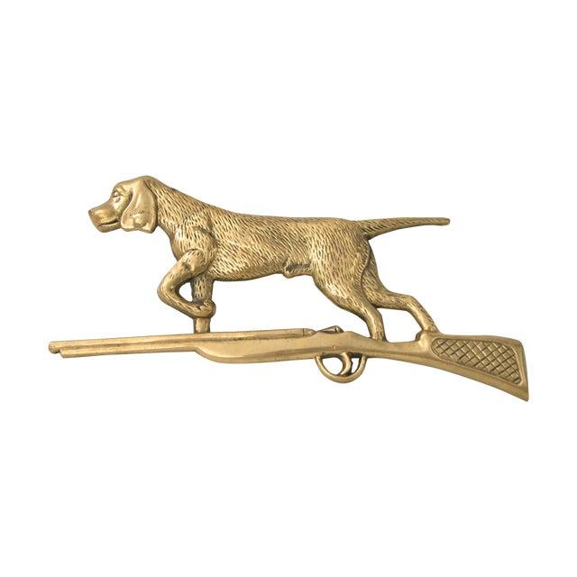 Brass Dog & Rifle Wall Hanging - Image 1 of 8
