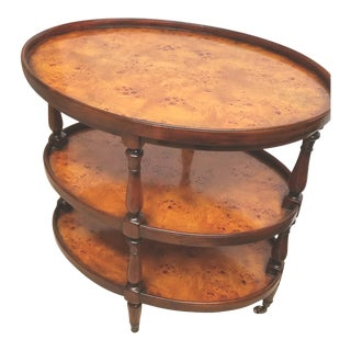 English Traditional Walnut and Burled Walnut Three Tier Dish Top End Table on Castors For Sale